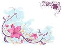 Floral background. Floral decoration of flowers and scrolls. Vector illustration - floral design Stock Image