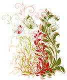 Floral background. Illustration with butterfly. Spring theme stock illustration
