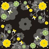 Floral background. Decorative green, yellow and black floral background Vector Illustration