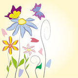 Floral background. Colorful summer background with flowers and butterflies Stock Photography