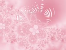 Floral background. Pink flowers on a pink background. Fractal image Stock Photos