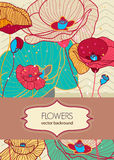 Floral background. Vector background with drawing poppies flowers Royalty Free Stock Image