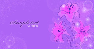 Floral background. With blooming lilies stock illustration