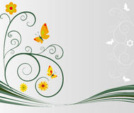 Floral background. Vector illustration of a floral background with butterflies Royalty Free Stock Images