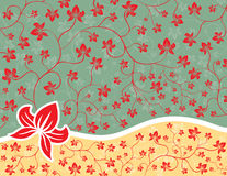 Floral Background. Ornate Floral Background, green, red and yellow Stock Image