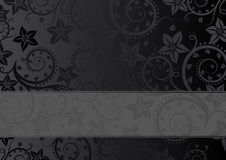 Floral background. Black background with floral ornaments Stock Photos