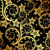 Floral background. Black and gold floral background Stock Photography