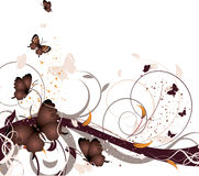 Floral background. Abstract floral background with butterflies. A vector format is added. Suits well for a postcard or background Royalty Free Stock Photos