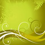 Floral background. Yellow floral background with curves and leaf patterns stock illustration