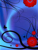 Floral background. Vector illustration,backdrop with butterflies and red flowers on blue satin Royalty Free Stock Photos