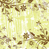 Floral background. Brown floral motives on green background stock illustration