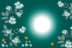 Floral background. Flowers and leaves in gradient dark green colour background with white blurs and sun royalty free illustration