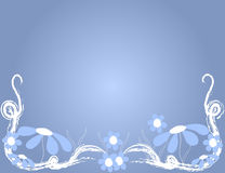 Floral Background. Blue and white flowers over light blue background Stock Images