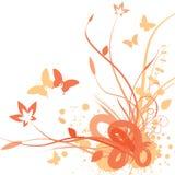 Floral background. Illustration of Floral background in orange royalty free illustration