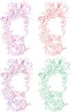 Floral background. A four floral designs in different colours in a white background Royalty Free Stock Photos