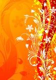 Floral background. Grunge floral background with wave pattern, element for design, vector illustration Stock Photos