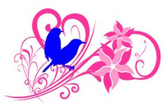 Floral background. Couple of sparrow silhouette with floral motif and abstract love Royalty Free Stock Image
