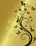 Floral background. Golden floral background with place for text Vector Illustration