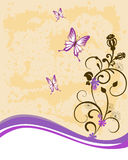 Floral background. Vector illustration of floral elements and butterflys Royalty Free Stock Photos
