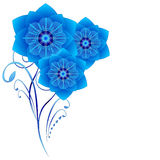 Floral background with abstract blue flowers on a white background. Royalty Free Stock Photos