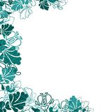 Floral background with abstract flowers. Blue flowers on a white. A frame of painted leaves and patterns. blue floral motifs on a white background.flowers vector illustration