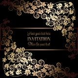 Floral background with antique, luxury black and gold vintage frame, victorian banner, damask floral wallpaper ornaments. Invitation card, baroque style vector illustration