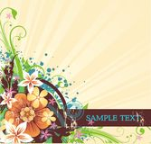 Floral background with banner for text. Striped yellow background with banner for your text and spring flowers Royalty Free Stock Photo