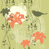 Floral background with bird Royalty Free Stock Image