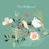 Floral background with a bird Royalty Free Stock Photo