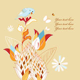Floral background with a bird Royalty Free Stock Image