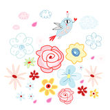 Floral background with a bird Stock Photo