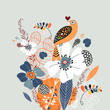 Floral background with a bird Royalty Free Stock Images