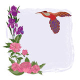 Floral background with bird. Decorative background with illustration of the bird stock illustration