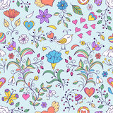 Floral background with bird and flowers Royalty Free Stock Photography