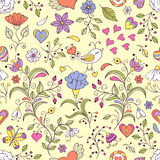 Floral background with bird and flowers Royalty Free Stock Photo