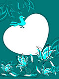 Floral background with bird sitting on heart Stock Photography