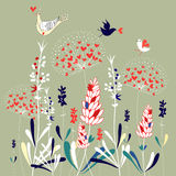 Floral background with birds stock illustration