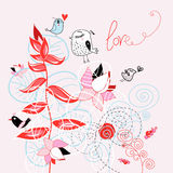Floral background with birds Stock Photos