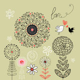 Floral background with birds in love. Graphic black flowers with birds in love on a green background Stock Photography