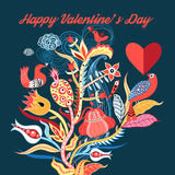 Floral background with birds in love Royalty Free Stock Image