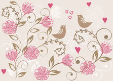 Floral background with birds in vector. Floral seamless backgrounds for design of fabrics and wallpapers in vector Royalty Free Stock Photography