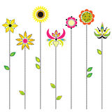 Floral background, blooming flowers - folk embroid Stock Images