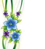 Floral background with blue flowers and dew-drop Royalty Free Stock Photography