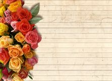 A floral background with a bouquet of flowers on the side Royalty Free Stock Photography