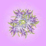 Floral background with bouquet of lilies, seamless pattern. Vector illustration Stock Photos