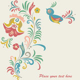 Floral background. Bright floral background with bird and flowers Stock Images
