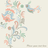 Floral background. Bright floral background with bird and flowers Stock Image