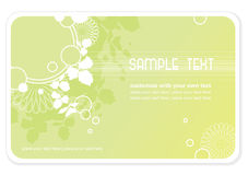 Floral background or business-card. Light green background or business-card template with leaves, flowers and abstract element - copyspace for your text Stock Photos