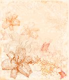 floral background with butterflies Stock Photo