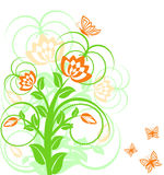 Floral background with butterflies. Stock Photo